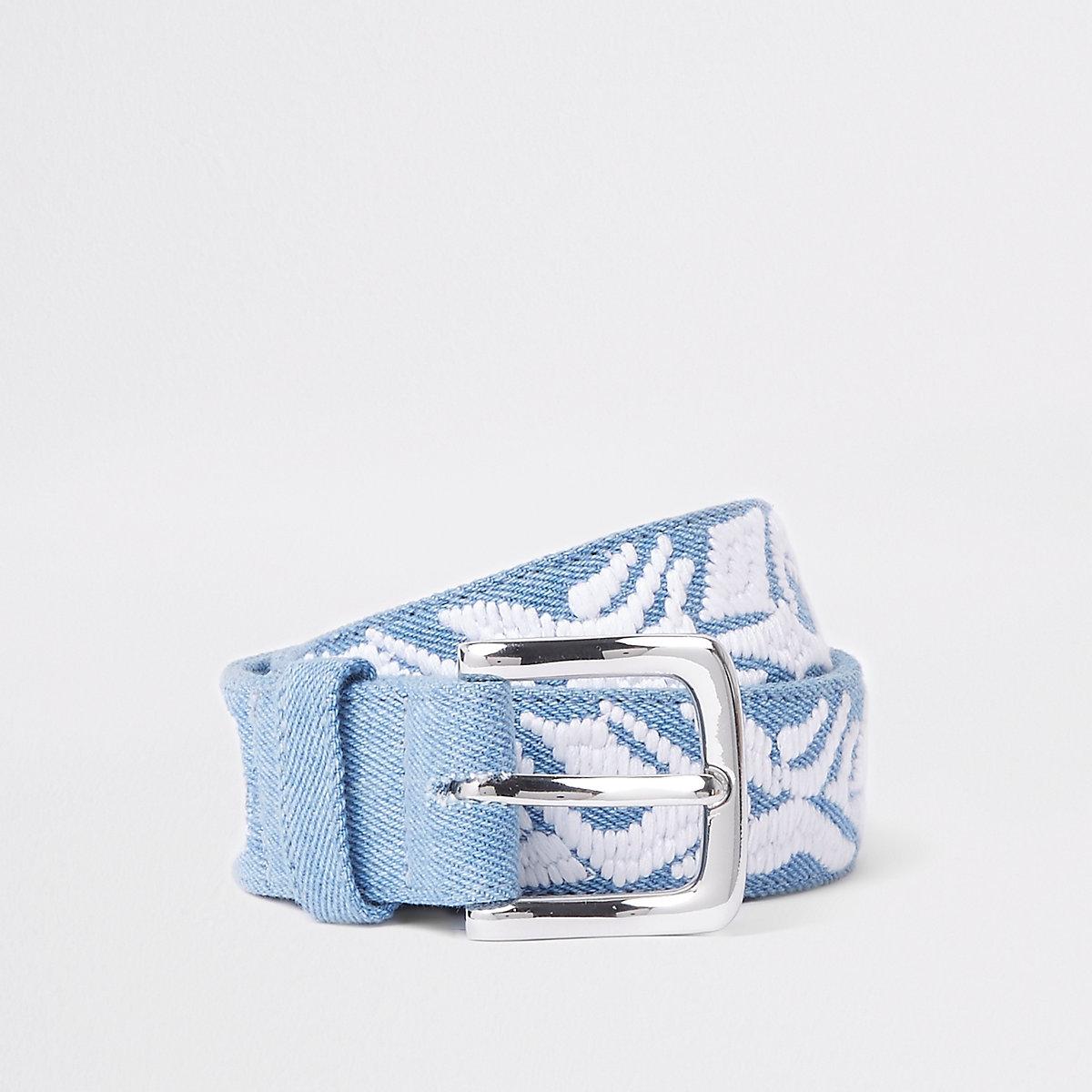 Light blue embroidered denim belt