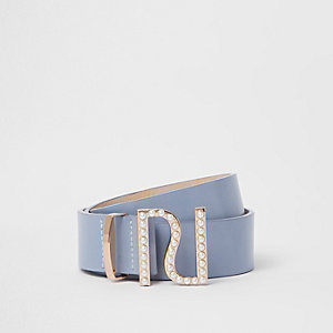 Light blue faux pearl RI buckle jeans belt