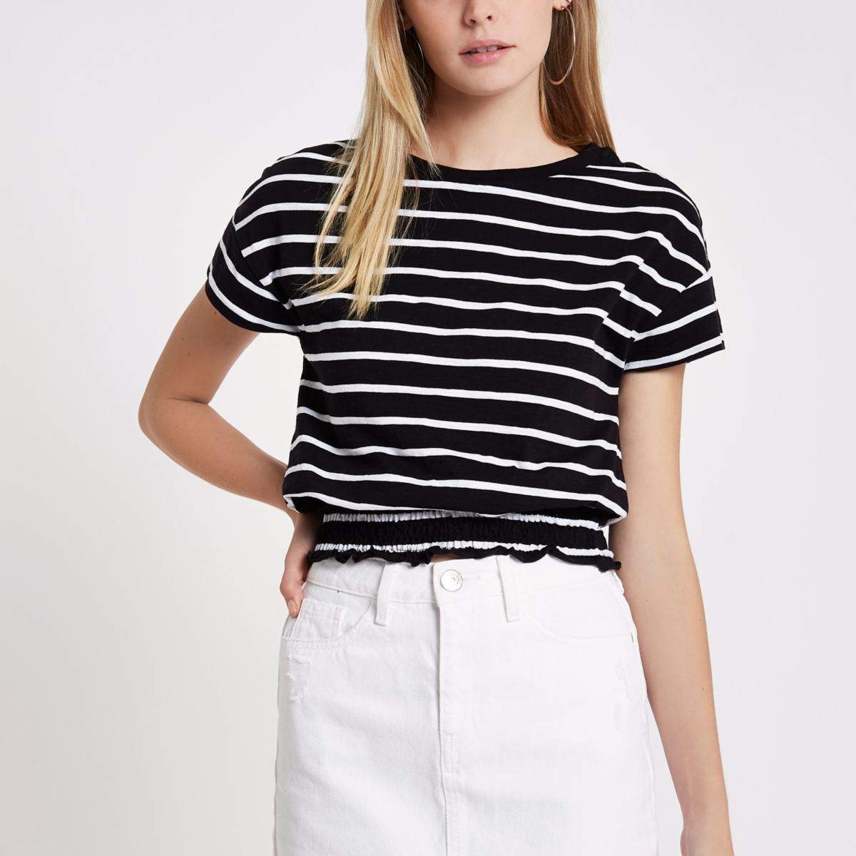 Black stripe shirred hem T-shirt