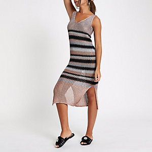 Pink metallic stripe knit dress
