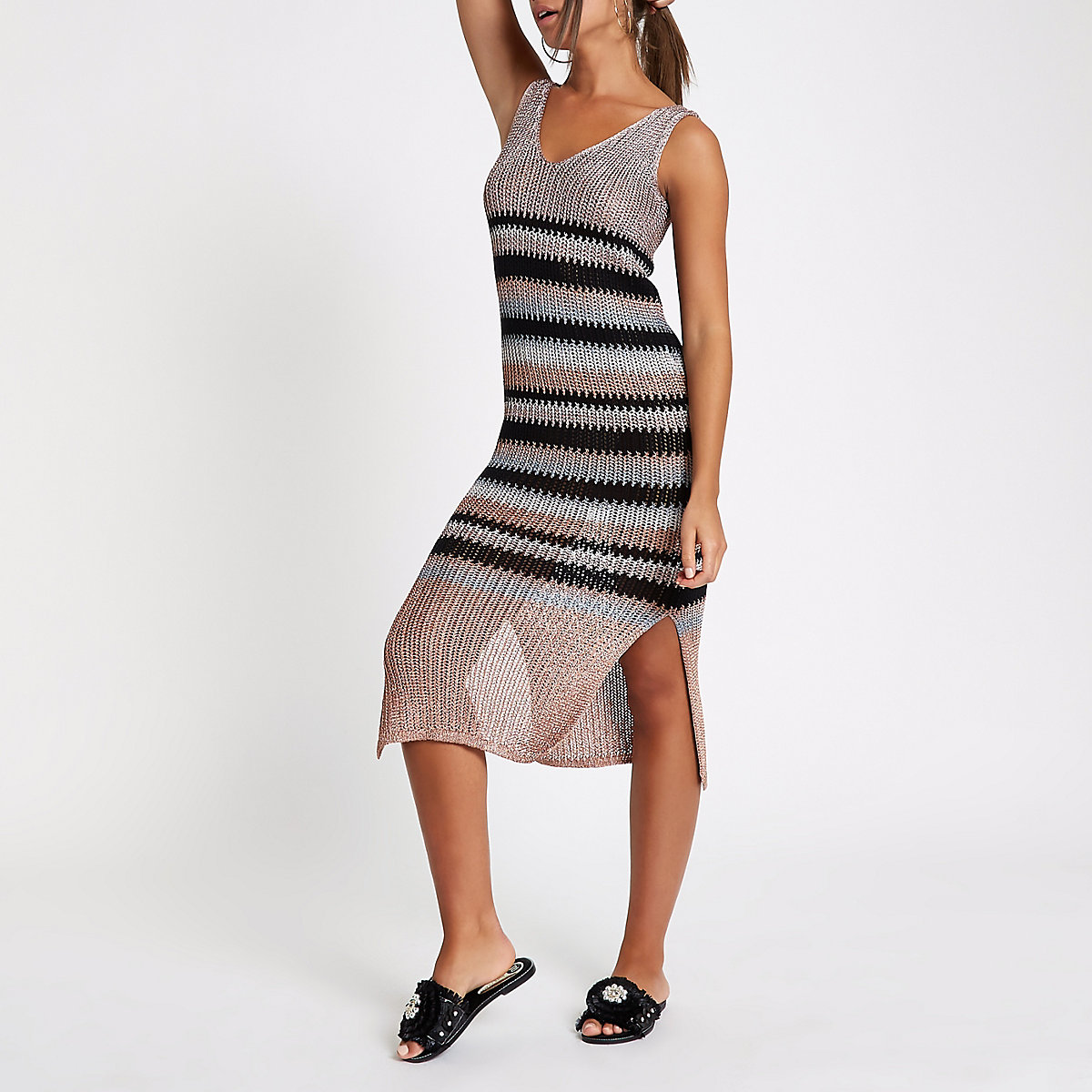 Pink metallic stripe knit dress