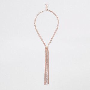 Rose gold tone cup chain drop necklace