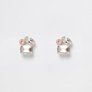Rose gold tone three stone stud earrings