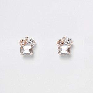 Clous d'oreilles doré rose à trois pierres