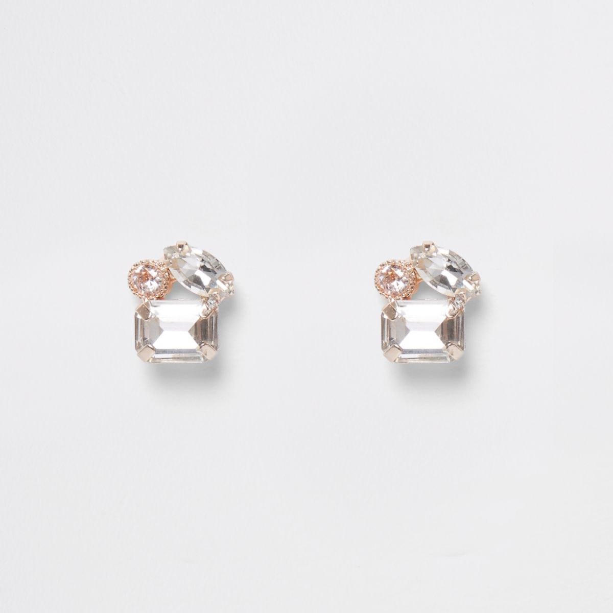 Rose gold tone three stone stud earrings