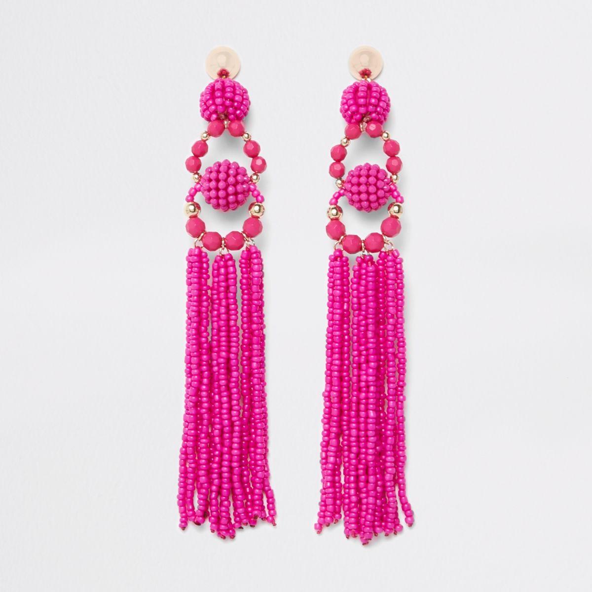 Pink seedbead tassel drop earrings