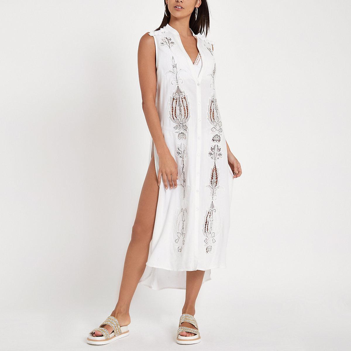 White embroidered maxi beach shirt dress