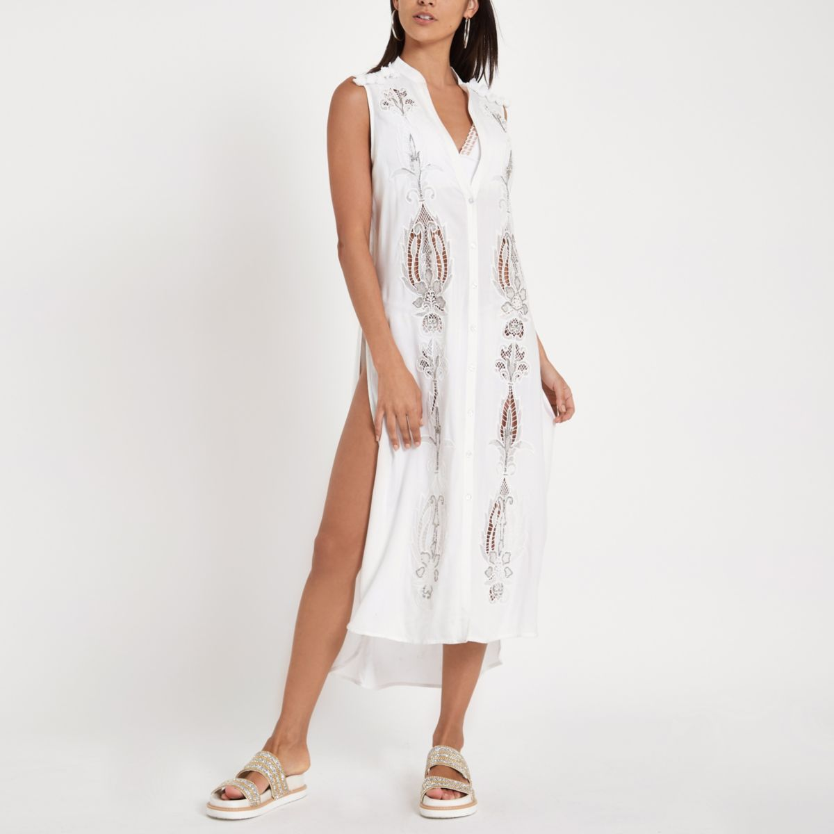 White embroidered maxi beach shirt dress