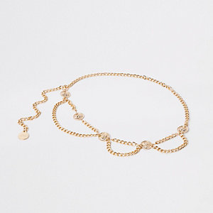 Gold tone coin chain waist belt