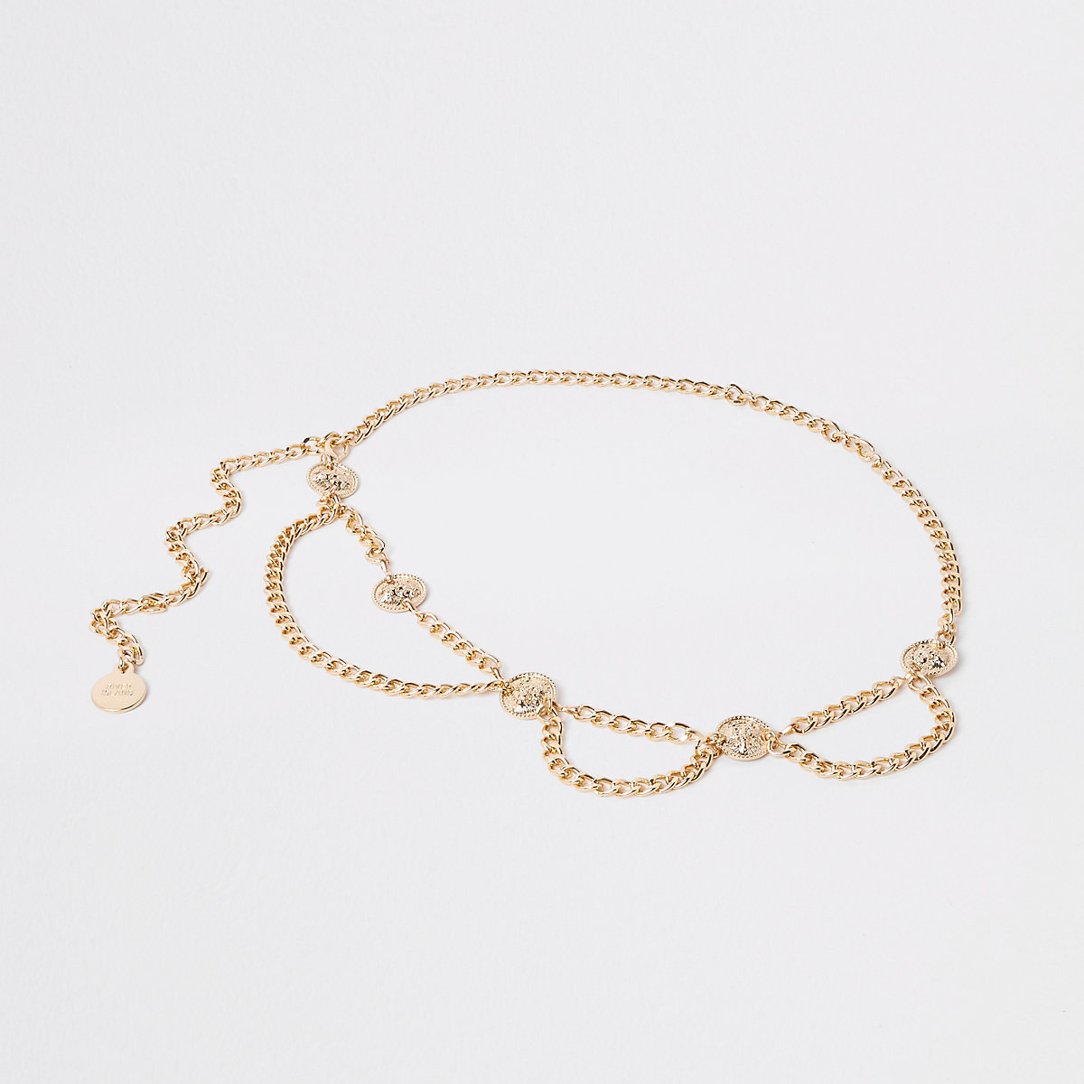 Gold tone coin chain waist belt