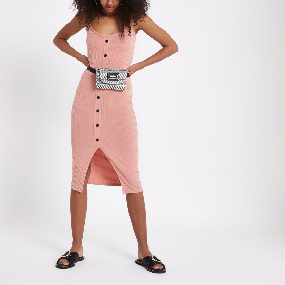 Pink button front rib midi dress