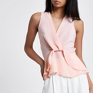 Pink twist front frill hem top