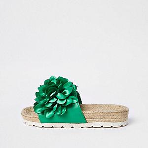 Sandales façon espadrilles à fleurs vertes