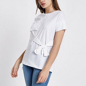 White ruffle bow front T-shirt