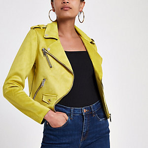 Yellow faux suede biker jacket