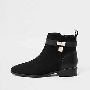 Black padlock ankle boots