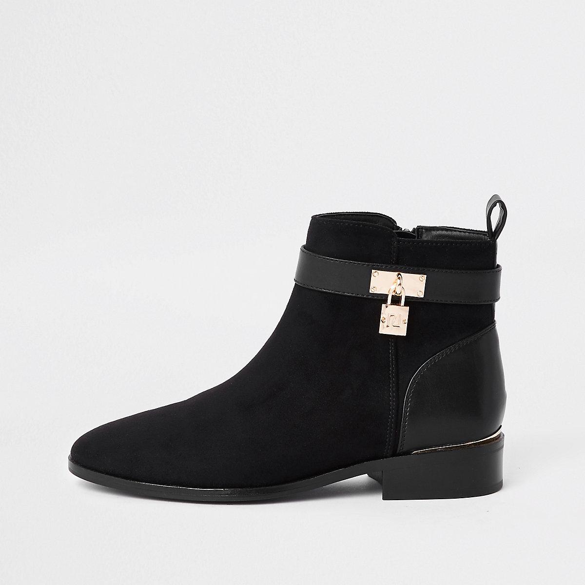 Black padlock ankle boots