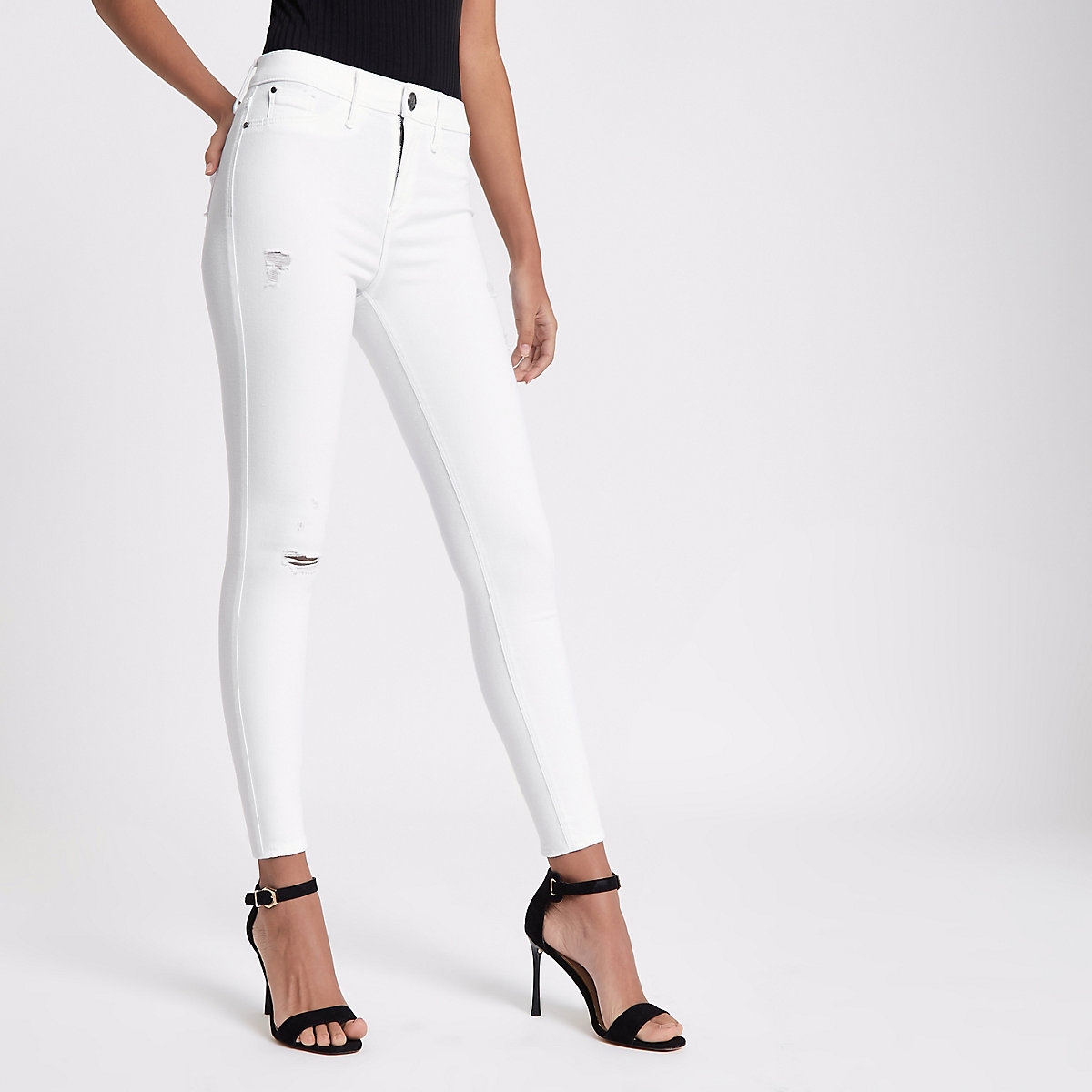 White FTBC charity Molly mid rise jeggings