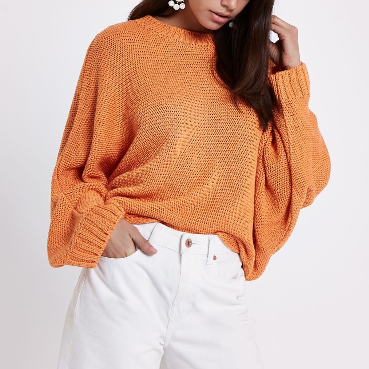 Orange batwing sweater