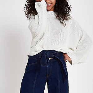 White batwing sweater
