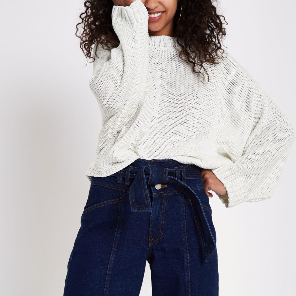 White batwing sweater