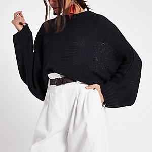 Marineblauer Pullover mit Fledermausärmeln
