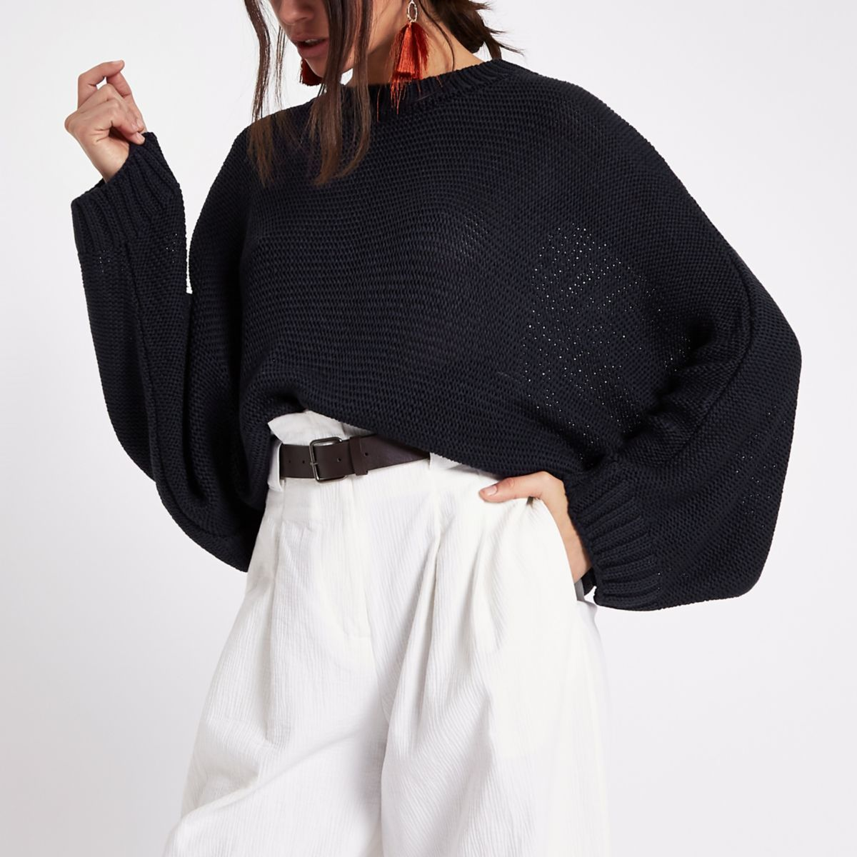 Navy batwing sweater