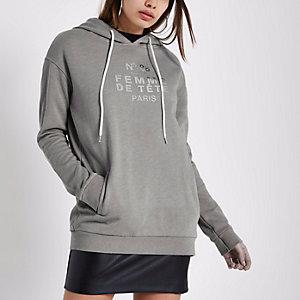 Grey 'femme' metallic print hoodie