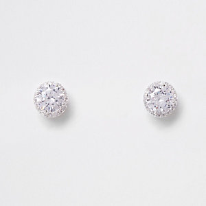 Silver plated cubic zirconia rhinestone earring