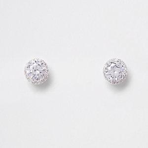 Boucles d'oreilles plaquées argent avec strass en zircon cubique