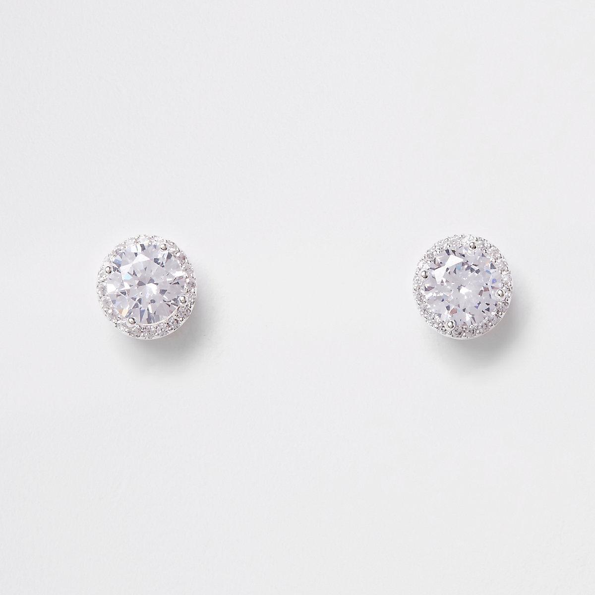 Silver plated cubic zirconia rhinestone earring