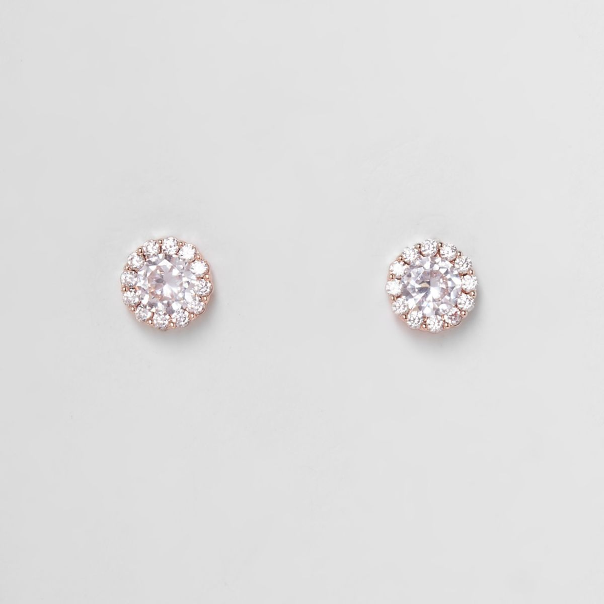Rose gold plated cubic zironia stud earrings