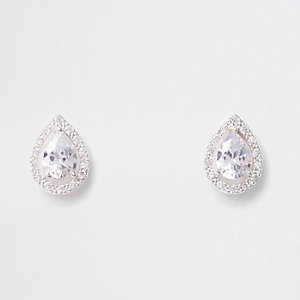Sliver cubic zirconia teardrop stud earrings