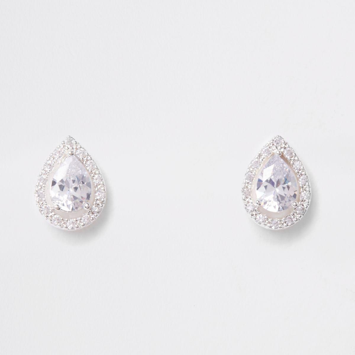 Sliver cubic zirconia teardrop stud earrings