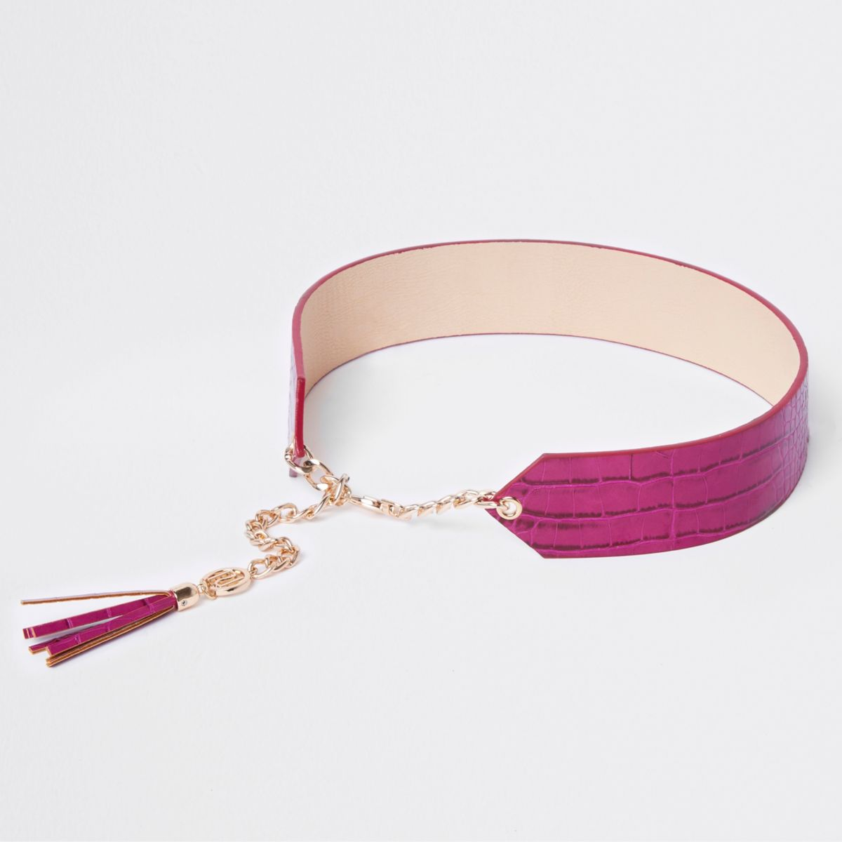 Pink tassle trim chain waist belt