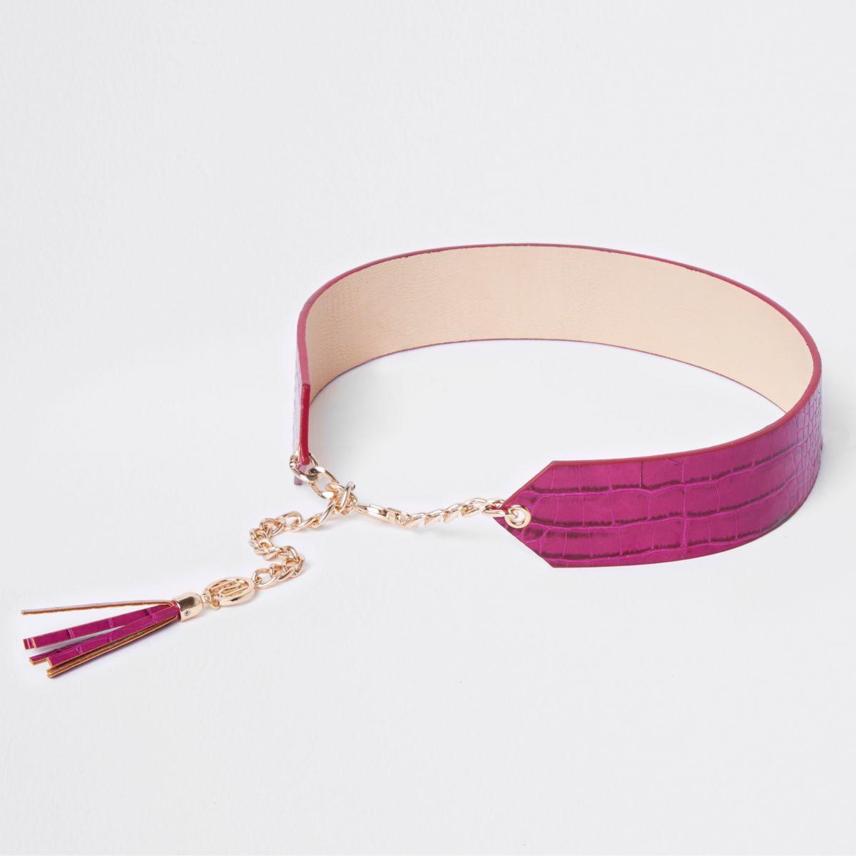 Pink tassle trim chain waist belt