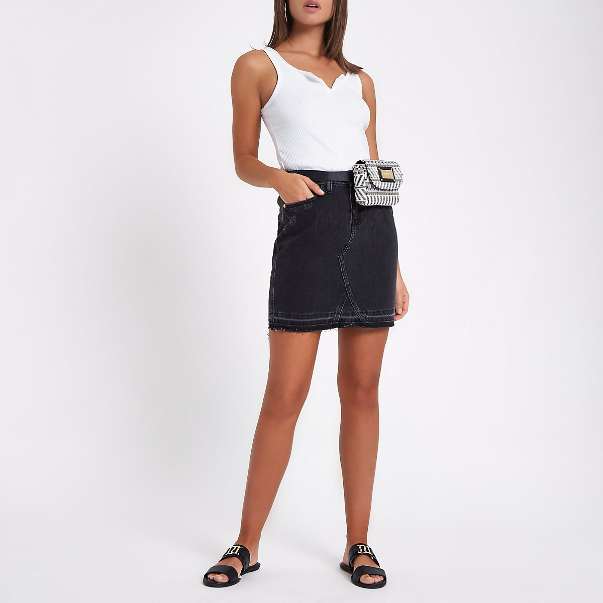 Black wash split front denim skirt