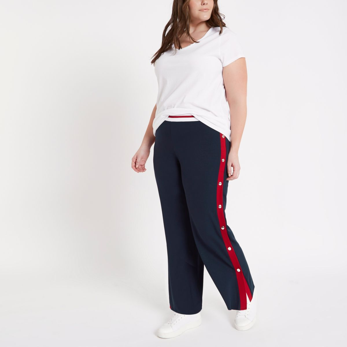 Plus navy colour block popper side joggers
