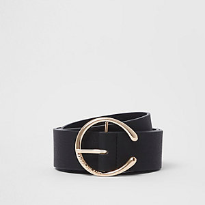 Black curved horseshoe buckle jeans belt