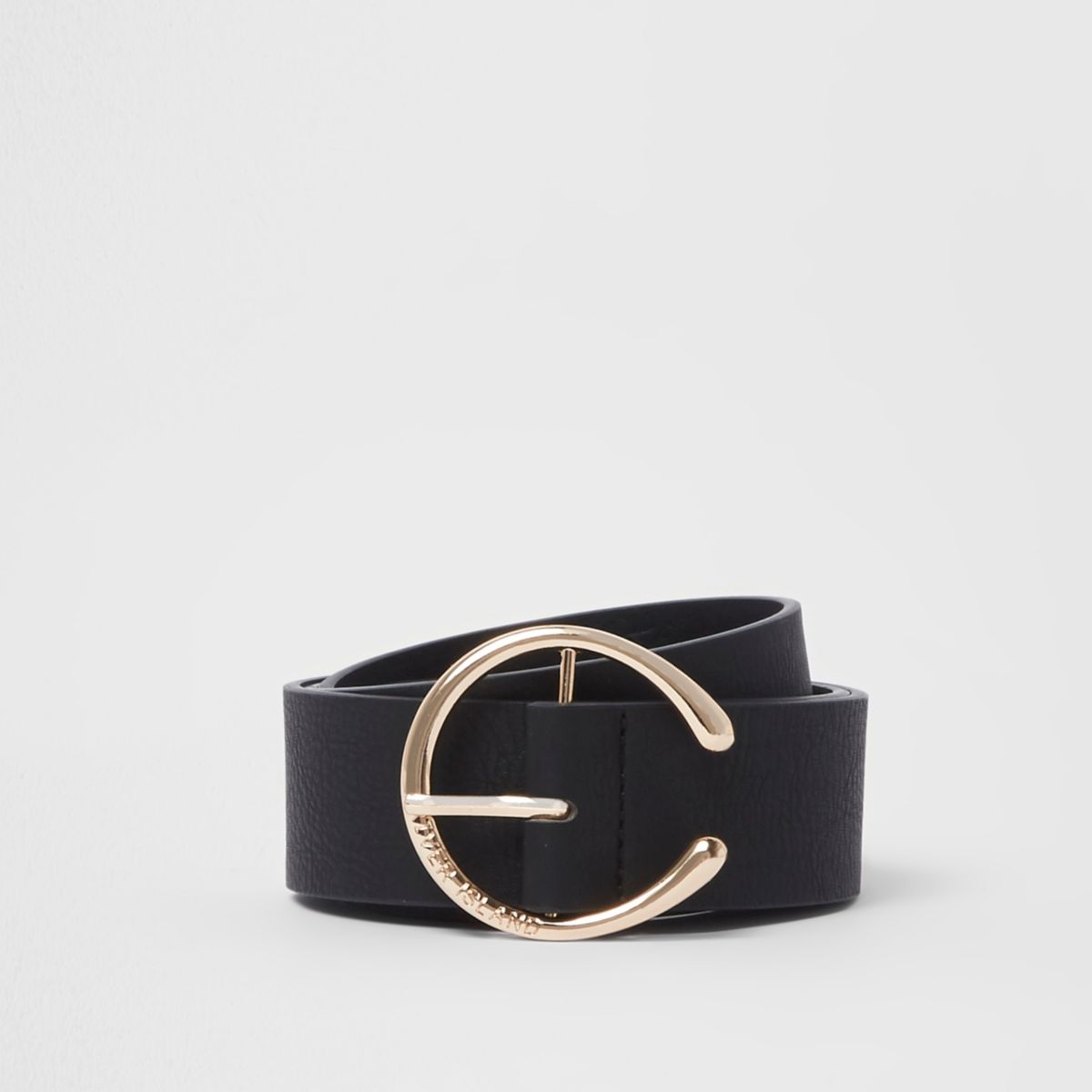 Black curved horseshoe buckle jeans belt