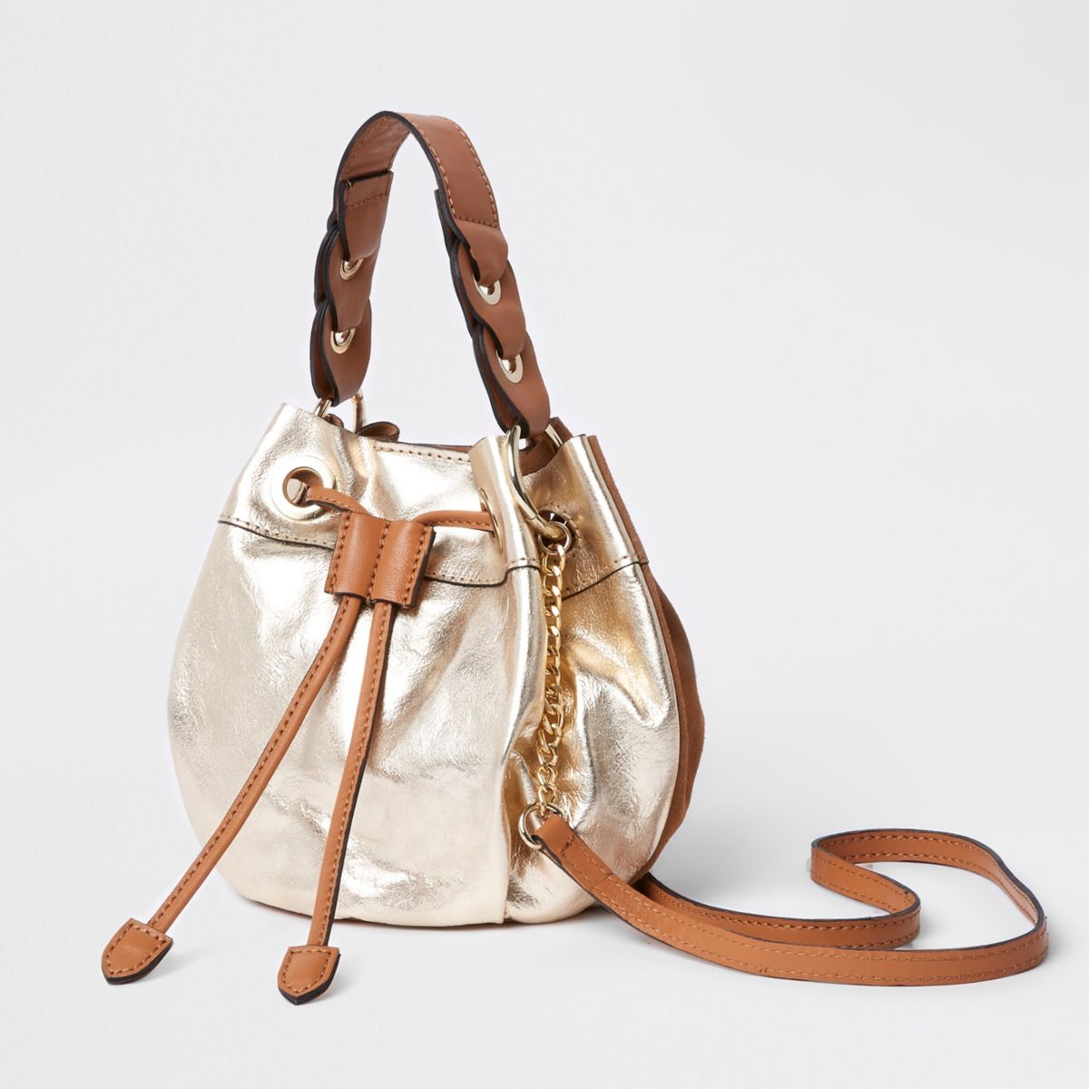 Gold suede drawstring chain cross body duffle