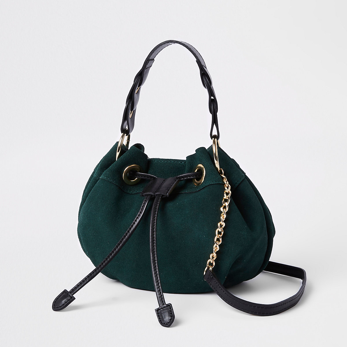 Green suede mini duffle cross body bag