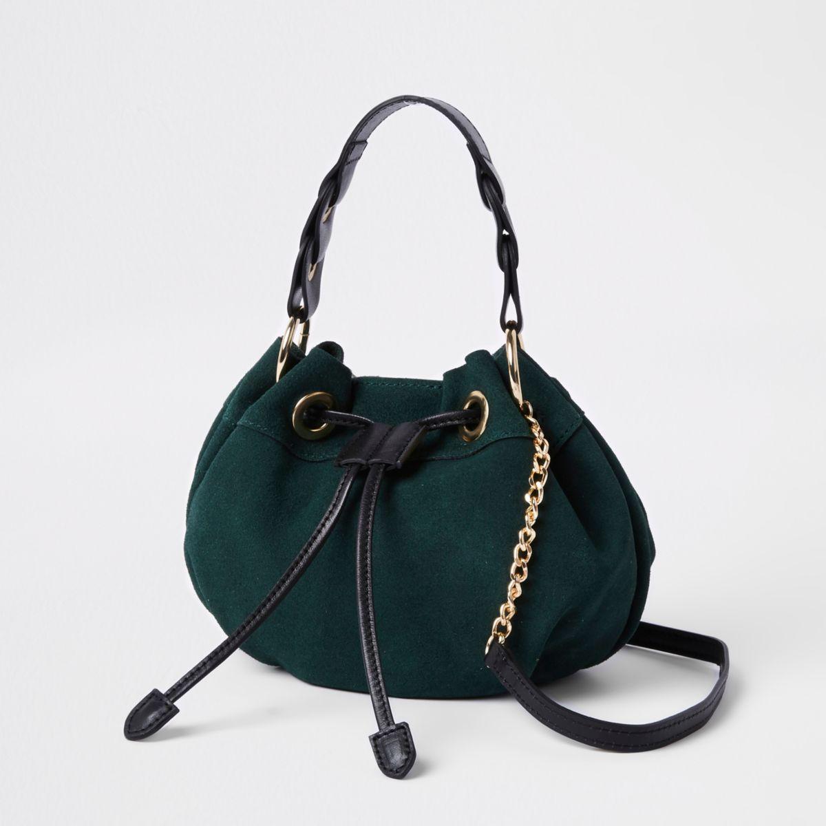 Green suede mini duffle cross body bag