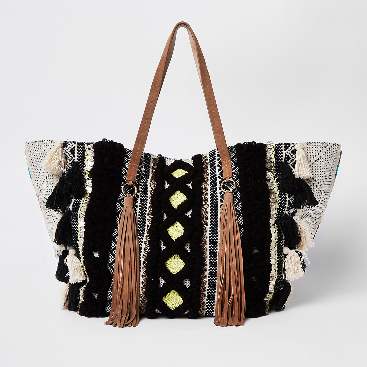 Black large tassel tote shopper bag