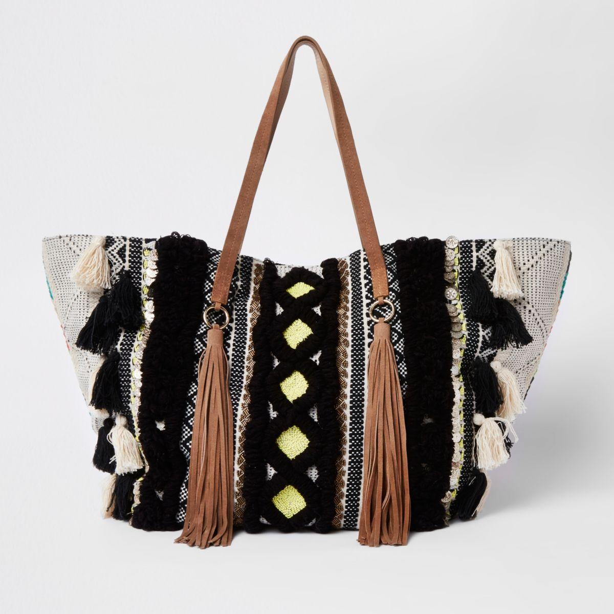Black large tassel tote shopper