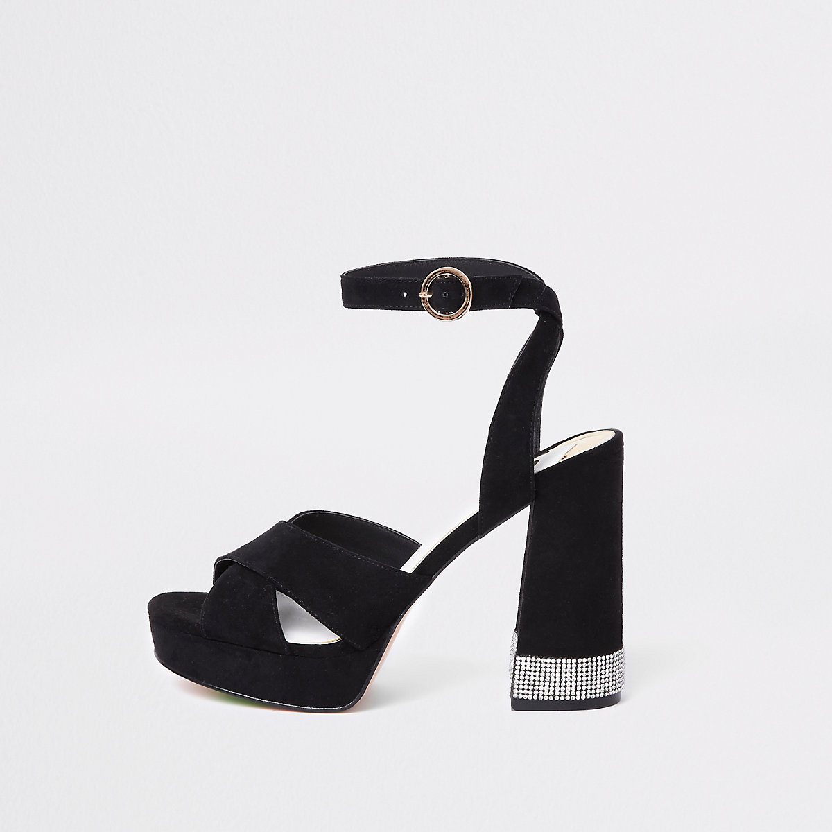 Black heatseal diamante platform sandals
