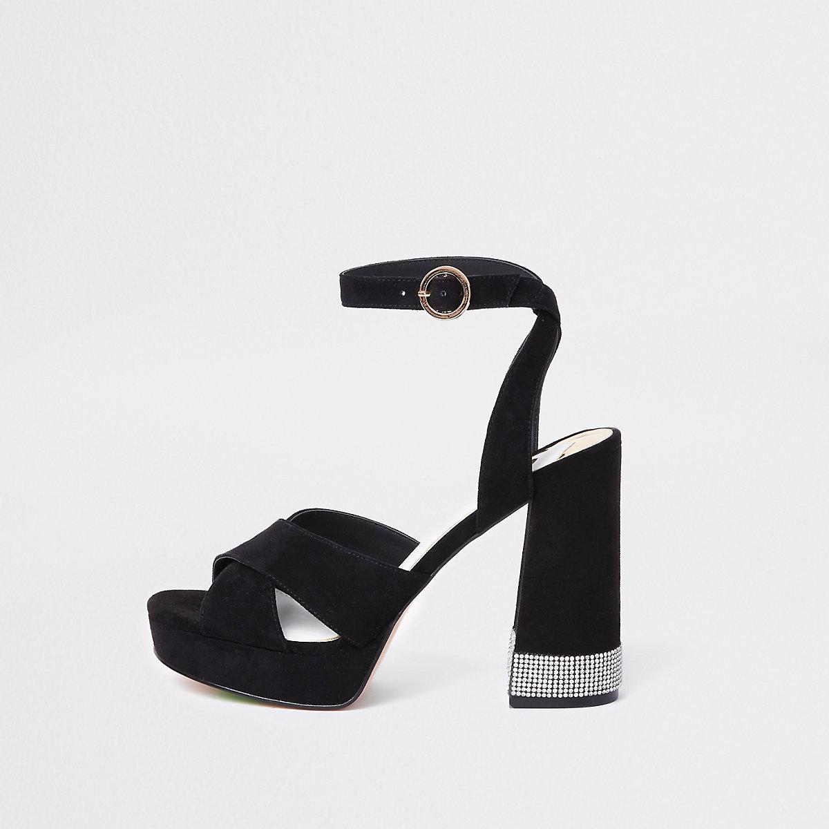 Black heatseal rhinestone platform sandals