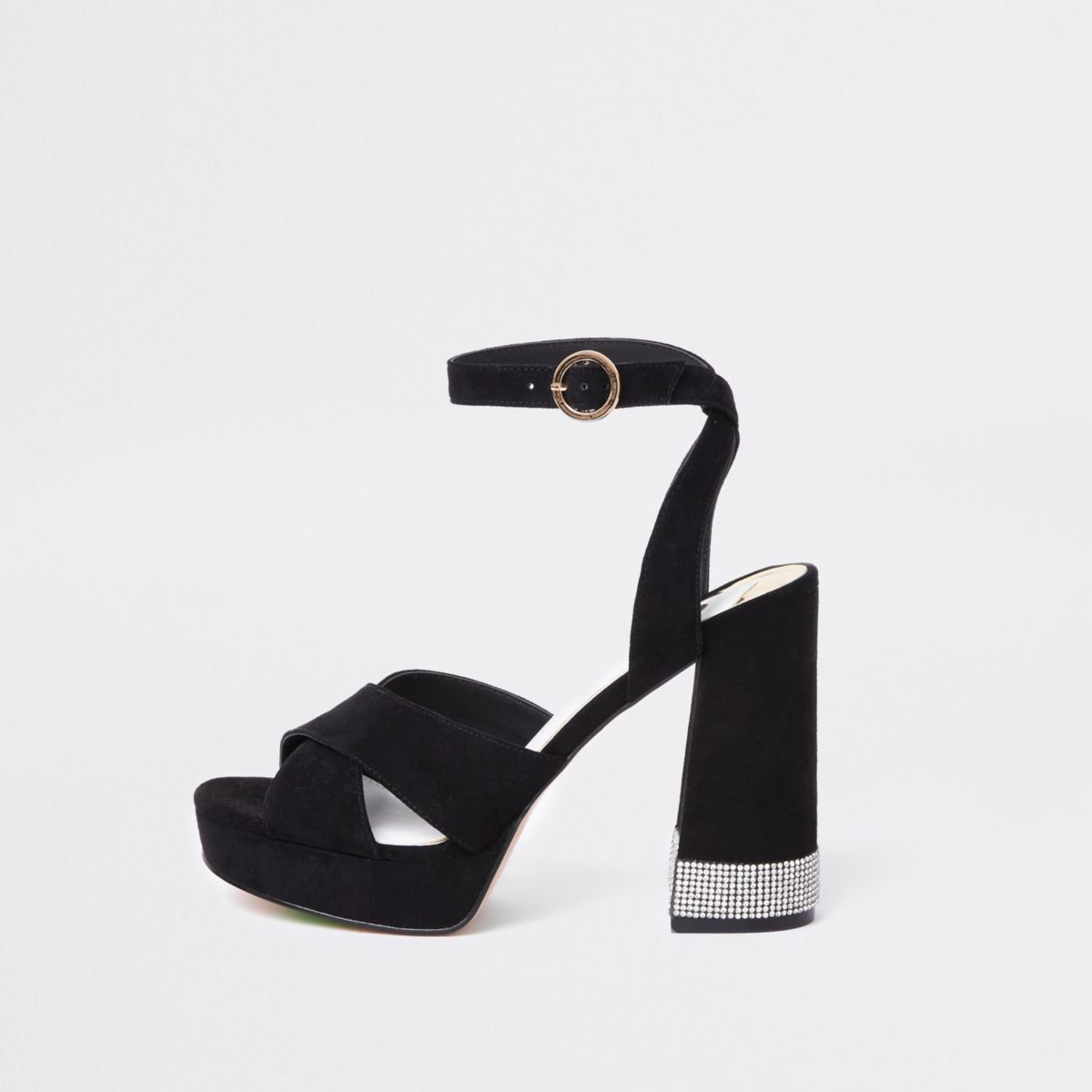 Black heatseal diamante platform sandals