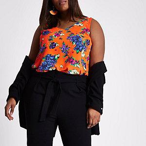 RI Plus - Oranje gebloemd hemdje met dubbele bandjes