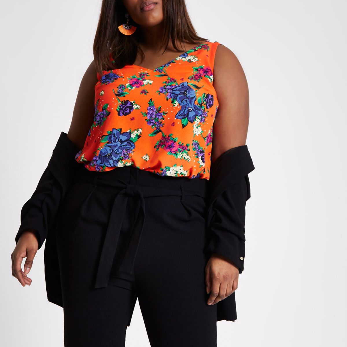 Plus orange floral double strap vest